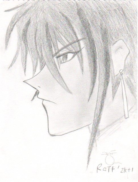 A drawing of Aya from Weiss Kreuz